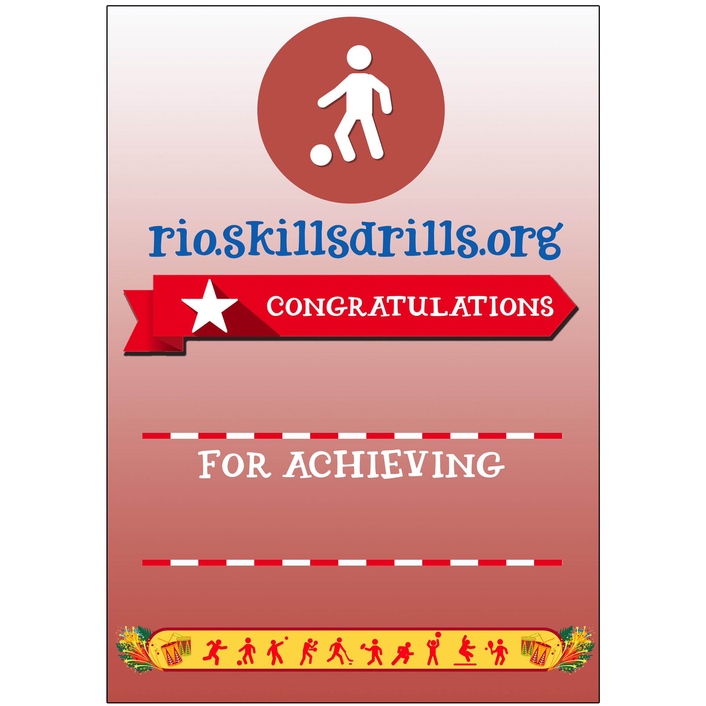 Skillsdrills Rio Leeds Pack Of 60 Football Certificates